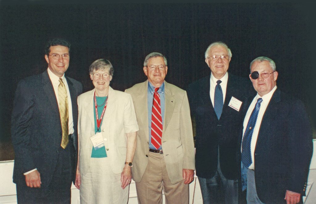 """This is from ASCE Geo-Odyssey 2001 (June), where Mike Duncan and I organized and honorary luncheon for Jim upon the publication of the ASCE volume """"Selected Geotechnical Papers of James K. Mitchell"""", edited by Ed Idriss. The photo includes me, Jim's late wife Virginia (Bunny), Jim, Ed Idriss , and Mike Duncan. Photo Contributor: Rudy Bonaparte."""